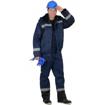 """Костюм """"МАСТЕР-Д"""" : куртка кор.,п/комб. тёмно-синий с СОП"""