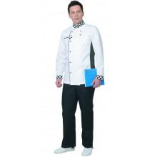 """Китель """"Шеф"""" мужской белый с отделкой черно-белая клетка"""