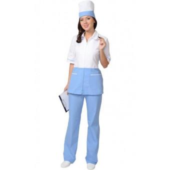"""Костюм """"СТЕФАНИ"""" женский: куртка, брюки, колпак белый с голубым (СТ)"""
