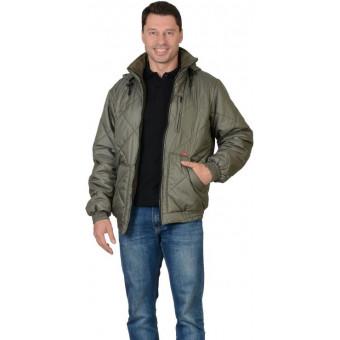 "Куртка ""Прага-Люкс"" мужская с капюшоном, оливковая"