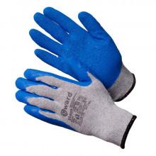 Gward Stoun Перчатки хлопчатобумажные серые с синим текстурированным латексом