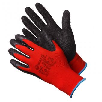 Gward Red Красные нейлоновые перчатки с черным текстурированным латексом