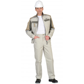 """Костюм """"Каспий"""" куртка, брюки, молочный с оливой"""