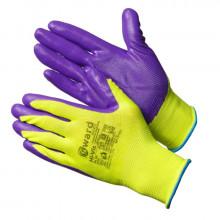 Gward Hi-Vis Перчатки ярко-зеленые нейлоновые с фиолетовым нитрилом покрытием