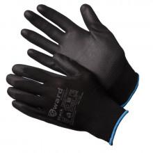 Gward Black Перчатки нейлоновые черные с черным полиуретаном