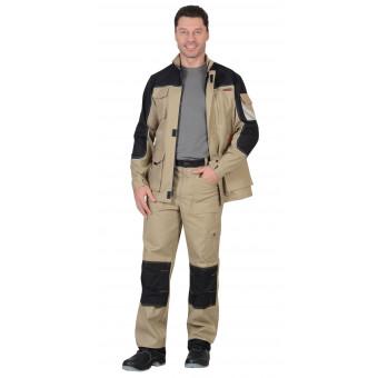 """Костюм """"ВЕСТ-ВОРК"""" летний куртка,брюки песочный с черным пл. 275 г/кв.м"""